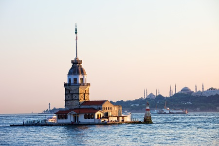 Maiden Tower (Tower of Leandros, Turkish: Kiz Kulesi) tranquil scenery at the entrance to Bosporus Strait in Istanbul, Turkey 写真素材