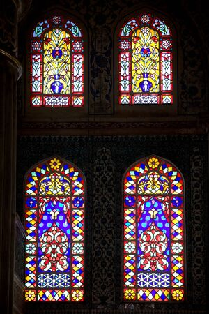church window: Stained glass windows in the Blue Mosque (Turkish: Sultan Ahmet Camii) in Istanbul, Turkey