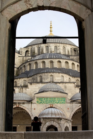camii: View through the main gate on the Blue Mosque historic architecture in Istanbul, Turkey Editorial