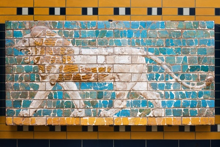 babylonian: Lion on Babylonian mosaic, fragment of the Ishtar Gate in the Archeology Museum (photography allowed), Istanbul, Turkey