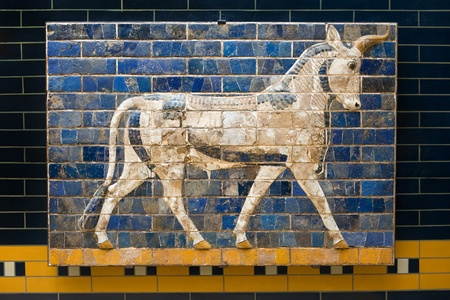 babylonian: Bull on Babylonian mosaic, fragment of the Ishtar Gate in the Archeology Museum (photography allowed), Istanbul, Turkey