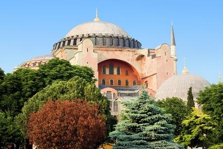Byzantine architecture of the Hagia Sophia ( The Church of the Holy Wisdom or Ayasofya in Turkish ), famous historic landmark and world wonder in Istanbul, Turkey photo