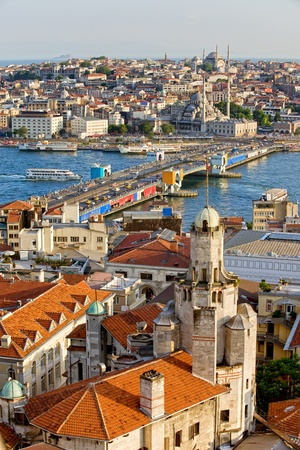 eminonu: City of Istanbul in Turkey, view from the Beyoglu district over the Golden Horn, Galata bridge and Eminonu district Stock Photo
