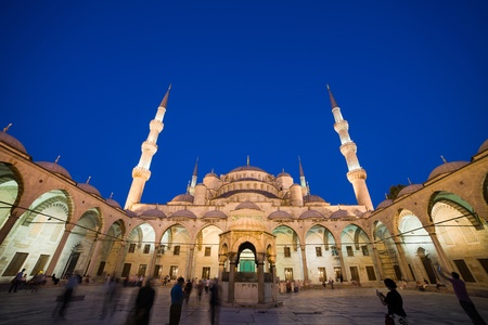 Blue Mosque (Sultan Ahmet Camii) historic landmark at night in Istanbul, Turkey, Sultanahmet district