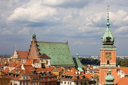 stare miasto: Old Town (Polish: Stare Miasto, Starowka) in Warsaw, Poland, on the right clock tower of the Royal Castle