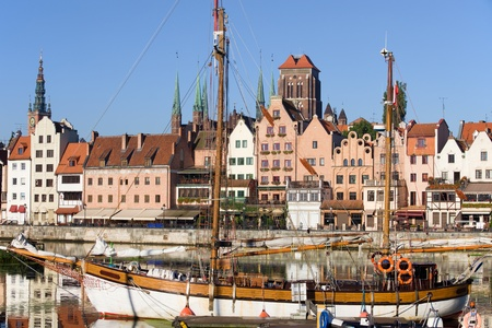 Old Town houses waterfront on the Motlawa river, view from the marina in the city of Gdansk (Danzig), Poland photo