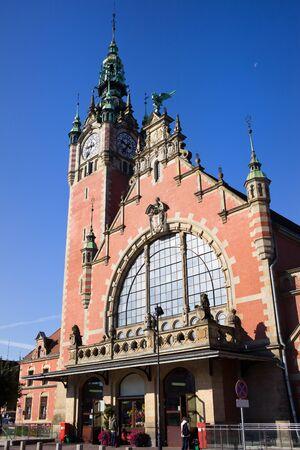 gdansk: Main Railway Station (Polish: Dworzec Glowny) Renaissance Revival (Neo-Rennaissance) architectural style in Gdansk (Danzig), Poland