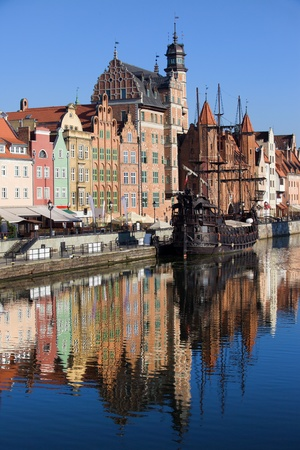 gdansk: Old Town houses waterfront architecture with reflections on Motlawa river waters in the city of Gdansk (Danzig), Poland Stock Photo