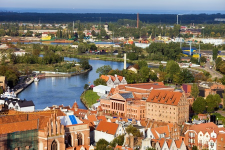 Scenic view from above over the city of Gdansk (Danzig) in Poland photo