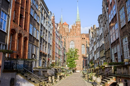 blessed virgin mary: Mariacka Street with the Church of the Blessed Virgin Mary (Polish: Bazylika Mariacka) at the end in Old Town of Gdansk (Danzig), Poland