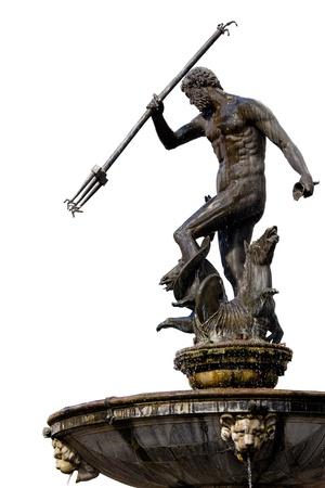 neptuno: El Neptuno, estatua de bronce del dios romano del mar (Poseid�n en la mitolog�a griega) sobre fondo blanco, originalmente ubicada en el casco antiguo de Gdansk (Danzig), Polonia Foto de archivo