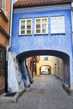 Small narrow cobblestone street in the Old Town (Polish: Stare Miasto, Starowka) of Warsaw, Poland Stock Photo - 11305143