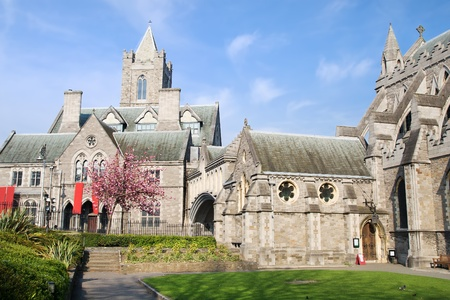 dublin: 11th century Gothic style Christ Church Cathedral (Cathedral of the Holy Trinity) in Dublin, Ireland