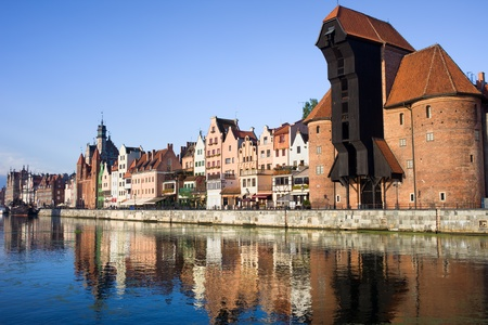 Waterfront of the Old Town along the river Motlawa in Gdansk, Poland, on the right side of the image The Crane (Polish: Zuraw) photo