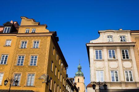 stare miasto: Apartment houses historic architecture in the Old Town (Polish: Stare Miasto, Starowka) in Warsaw, Poland Stock Photo