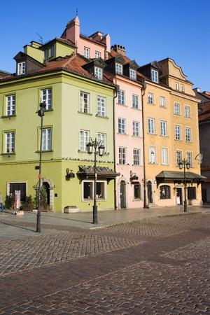 stare miasto: Apartment houses residential architecture in the Old Town (Polish: Stare Miasto, Starowka) of Warsaw in Poland