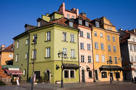 Apartment houses residential architecture in the Old Town (Polish: Stare Miasto, Starowka) of Warsaw in Poland Stock Photo - 11305169