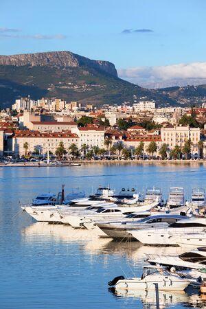 adriatic sea: Split cityscape on the Adriatic Sea in Croatia, Dalmatia region, luxury motorboat harbour in the foreground