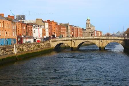 liffey: Queen Maeve, the oldest bridge in the city of Dublin, Ireland Stock Photo
