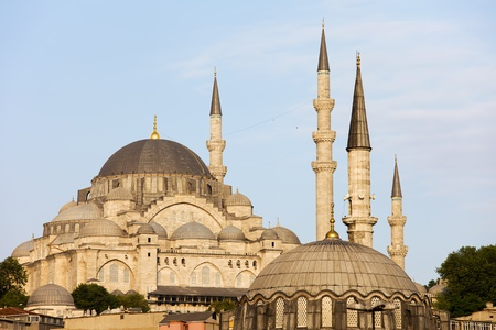 Suleymaniye Mosque historic architecture (Ottoman imperial mosque) in Istanbul, Turkey