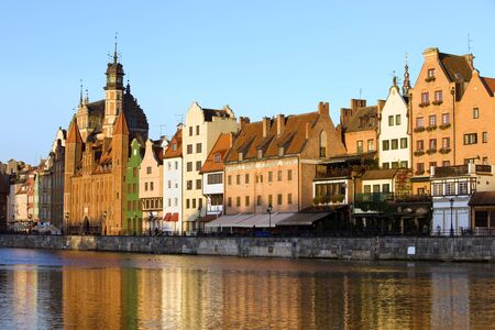 Early morning at the Old Town by the Motlawa river in the city of Gdansk, Poland photo