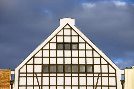 Triangular top of an old cereal granary industrial building in Gdansk, Poland photo