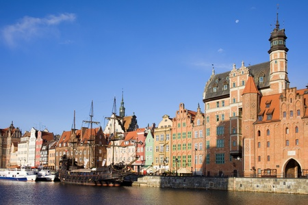 Old Town of Gdansk waterfront by the river Motlawa in Poland