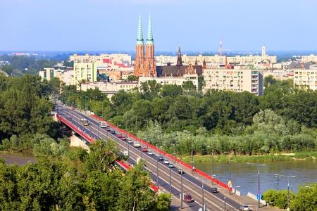 warszawa: Cityscape of Warsaw, Poland, Slasko-Dabrowski bridge, Praga district behind the Vistula river Stock Photo