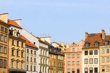 tenement: Old Town apartment houses historic architecture in the city of Warsaw, Poland