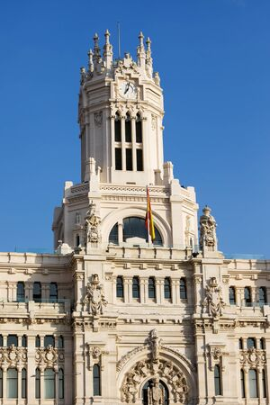 palacio de comunicaciones: Palacio de Comunicaciones architectural details in the city of Madrid, Spain