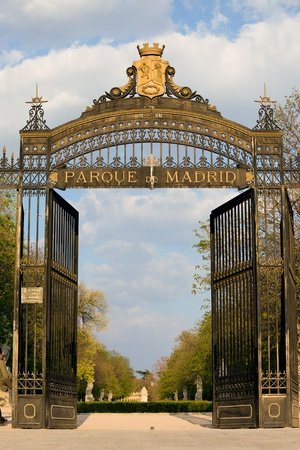 Puerta de Espana entrance to the Buen Retiro Park in Madrid, Spain photo