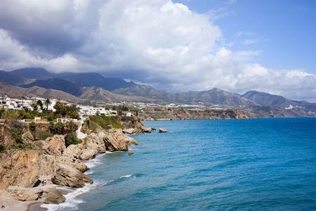 del: Scenic coastline of Nerja town on the Mediterranean Sea in Spain, southern Andalucia region, Costa del Sol