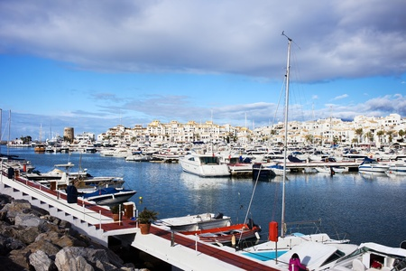 Luxury marina in Puerto Banus on Costa del Sol, near Marbella in southern Spain, Andalusia region, Malaga province photo