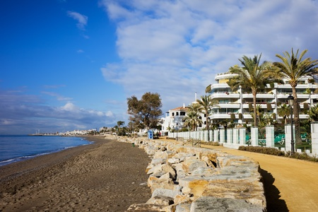 Costa del Sol waterfront along the Mediterranean Sea in the resort town of Marbella in southern Spain Stock Photo