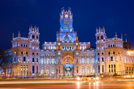cibeles: Palacio de Comunicaciones at Plaza de Cibeles illuminated at night in the city of Madrid, Spain