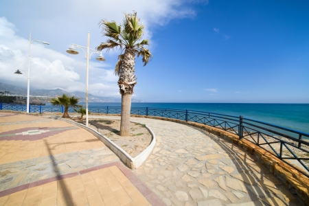 promenade: Promenade by the Mediterranean Sea in resort town of Nerja at Costa del Sol, southern Andalusia, Spain.