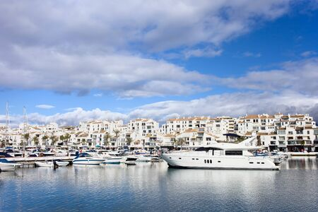 malaga: Luxury marina in Puerto Banus on Costa del Sol, near Marbella in southern Spain, Andalusia region, Malaga province. Stock Photo
