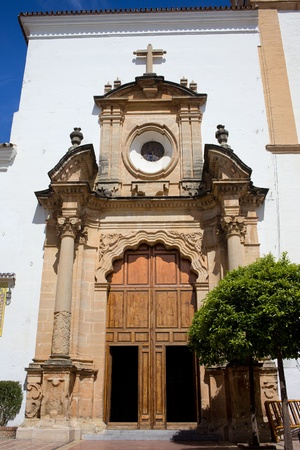 incarnation: Baroque style redstone doorway of the Church of Incarnation (Spanish: Iglesia Mayor de Santa Maria de la Encarnacion) in Marbella, southern Andalucia, Spain.