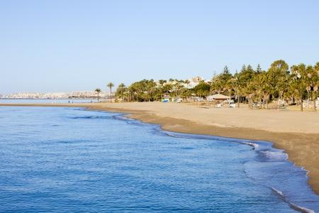 sol: Costa del Sol beach at Mediterranean Sea in Marbella, southern Spain, Andalucia region. Stock Photo