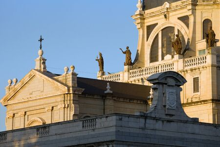 neo gothic: Almudena Cathedral (Cathedral of Saint Mary the Royal of La Almudena) architectural details in Madrid, Spain.