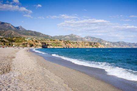 del: Burriana beach in Nerja, Costa del Sol, Andalucia region, Malaga province, Spain.