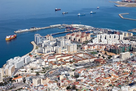 gibraltar: Gibraltar urban scenery in southern part of Iberian Peninsula. Stock Photo