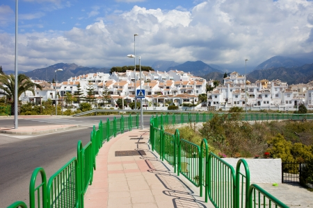 Punta Lara white village by the Calle Goya street on Costa del Sol, near resort town of Nerja in southern Andalucia, Malaga province, Spain.