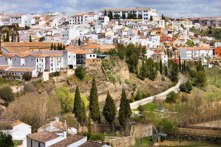 blanco: Scenic White Town (Spanish: Pueblo Blanco) of Ronda on a hill in Andalucia region, Spain. Stock Photo