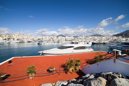 spanish house: Motorboats and yachts marina in luxury resort of Puerto Banus on Costa del Sol, Andalucia, Spain  Stock Photo