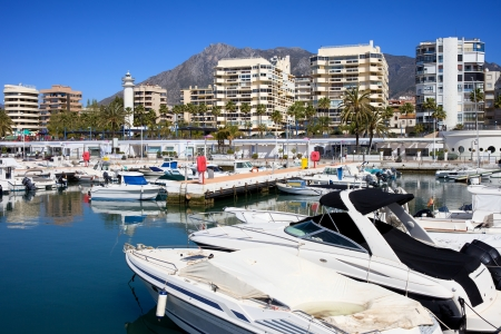 Harbour in resort city of Marbella, popular vacation destination in southern Spain, Andalucia region, Malaga province  photo