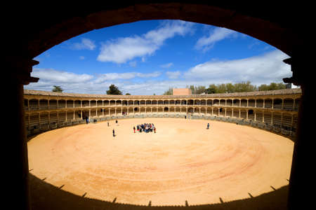 Bullring in Ronda opened in 1785, framing composition, view from auditorium, one of the oldest and most famous bullfighting arena in Spain