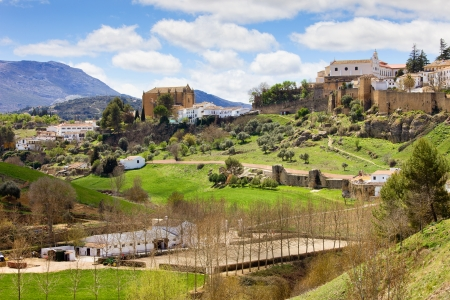 spanish landscapes: Scenic Andalusia landscape, old town of Ronda on a green hills, stud farm in a valley, southern Spain, Malaga province.