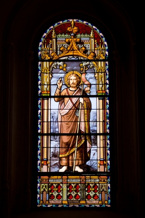 baptist: John the Baptist, Precursor (Latin: Johannes Baptista, Precursor) stained glass window from 1881 by the J.B. Anglade in the San Jeronimo el Real Church in Madrid, Spain.