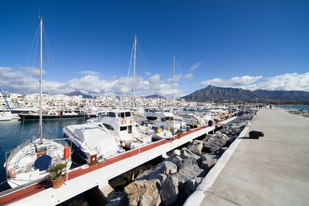 Marina and pier in Puerto Banus near Marbella on Costa del Sol, Andalucia, southern Spain. photo